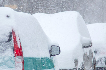 Science blog banner, snow-covered cars