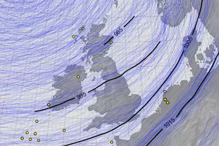 Still from reconstruction of Ulysses storm over the UK in February 1903; credit: Philip Brohan